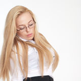 Portrait of beautiful blond young woman Stock Photos