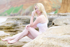 Portrait of the beautiful blonde. Ashore epidemic deathes Royalty Free Stock Photography