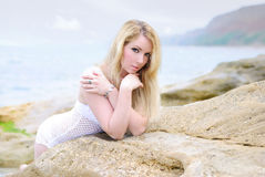 Portrait of the beautiful blonde ashore epidemic deathes Royalty Free Stock Photography