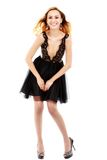 Portrait of the beautiful blonde in black dress. Stock Photos