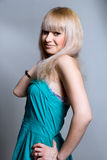Portrait of a beautiful blonde in a blue dress Stock Photos