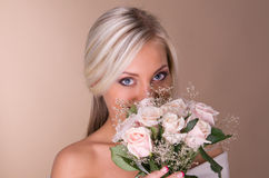Portrait of beautiful blonde bride Royalty Free Stock Images