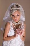 Portrait of beautiful blonde bride Stock Images