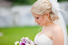 Portrait of a beautiful blonde bride Royalty Free Stock Photo