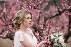 Portrait of a beautiful blonde bride Stock Photography
