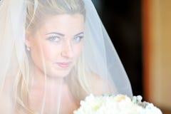 Portrait of a beautiful blonde bride through the veil Stock Photo