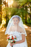 Portrait of a beautiful blonde. The bride in a white dress on a sunny day Royalty Free Stock Image
