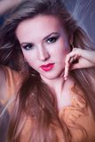 Portrait of a beautiful blonde close-up girls Stock Photography