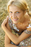 Portrait of beautiful blonde country girl Stock Images