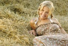 Portrait of beautiful blonde country girl Royalty Free Stock Photo