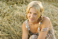Portrait of beautiful blonde country girl Stock Photos