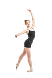 Portrait of beautiful blonde dancer in ballet shoes posing Royalty Free Stock Photos