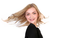 Portrait of  beautiful blonde with flying hair Royalty Free Stock Images