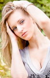 Portrait of beautiful blonde girl with big breast Stock Images