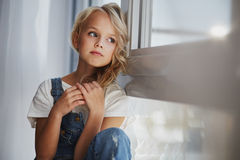 Portrait of a beautiful blonde girl in home, lifestyle. Portrait of a beautiful blonde girl in home Stock Photography