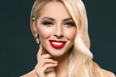 portrait of beautiful blonde girl with makeup Stock Photography
