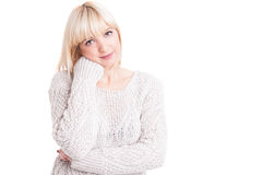Portrait of beautiful blonde girl posing confortable Royalty Free Stock Photo