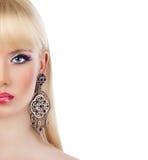 Portrait of beautiful blonde girl with purple makeup Stock Photos