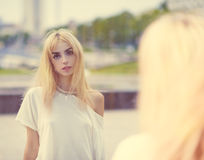 Portrait of a beautiful blonde girl. Stock Photography
