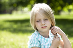 Portrait of a beautiful blonde little girl three years Royalty Free Stock Images