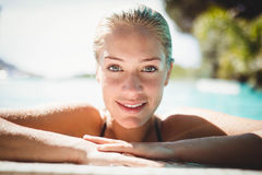 Portrait of beautiful blonde in the pool Royalty Free Stock Images