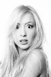 Portrait of beautiful blonde on white background Royalty Free Stock Photo