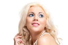 Portrait of beautiful blonde woman. Stock Photos