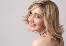 Portrait of beautiful blonde woman royalty free stock photos