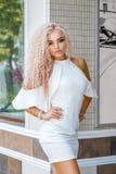 Portrait of beautiful blonde woman, beautiful makeup and beautiful hair stock images