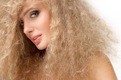 Portrait of beautiful blonde woman . Healthy Long Blond Hair. Stock Photo