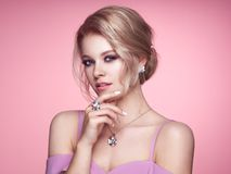 Portrait Beautiful Woman with Jewelry stock photography