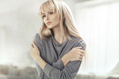 Portrait of the beautiful blonde woman Stock Photography