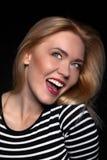 Portrait of a Beautiful Blonde Woman Model black background studio - Stock Image Stock Photography