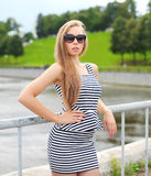 Portrait of beautiful blonde woman in sunglasses Royalty Free Stock Image
