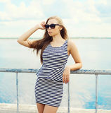 Portrait of beautiful blonde woman in sunglasses Royalty Free Stock Photo