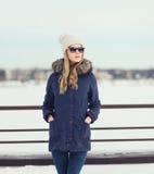 Portrait of beautiful blonde woman in urban style Stock Photo