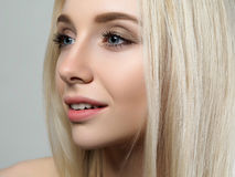 Portrait of beautiful blonde woman. Portrait of young beautiful blonde woman. Skin treatment, cosmetics and beautician concept stock photo