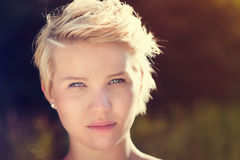 Portrait of a beautiful blonde women Stock Photos