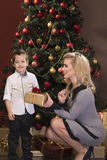 Portrait of beautiful blonde young woman with her little son Stock Image