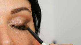 Portrait of a beautiful blue-eyed woman model with long black hair who is doing evening brown eye makeup and eyebrow stock footage