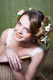Portrait beautiful bride in armchair Royalty Free Stock Images