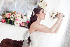 Portrait  beautiful bride with a bouquet of flowers. Wedding decoration Royalty Free Stock Images