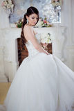 Portrait  beautiful bride with a bouquet of flowers. Wedding decoration Royalty Free Stock Image