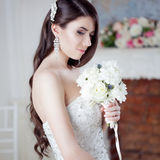 Portrait  beautiful bride with a bouquet of flowers. Wedding decoration Royalty Free Stock Photos