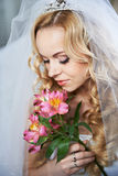 Portrait beautiful bride with bouquet Royalty Free Stock Photo