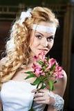 Portrait beautiful bride with bouquet Stock Images