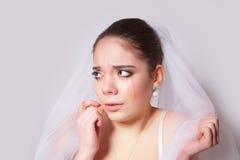 Portrait of a beautiful bride crying, closeup Stock Photos