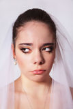 Portrait of a beautiful bride crying, closeup Royalty Free Stock Images