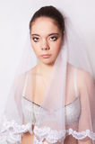 Portrait of a beautiful bride crying Royalty Free Stock Photo