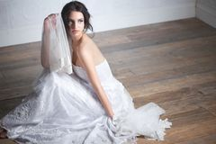 Portrait of a Beautiful Bride in Dress Royalty Free Stock Photography